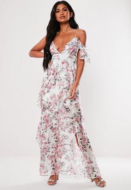 b929638c511 Pink Floral Print Ruffle Maxi Dress