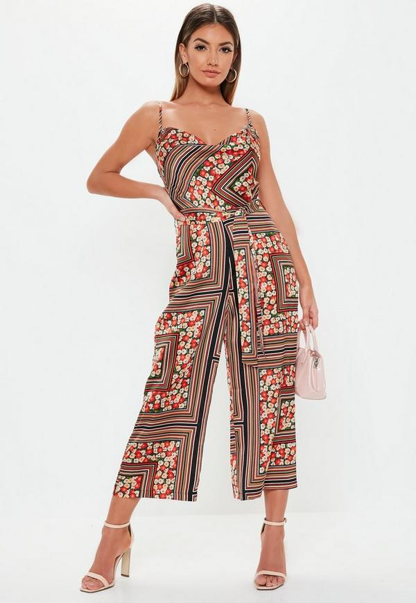 d0b046af580 ... Red Stripe Floral Mix Cowl Neck Culotte Jumpsuit. Previous Next