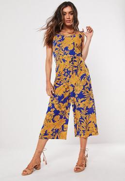 4546957c064 Blue Floral Print Culotte Jumpsuit
