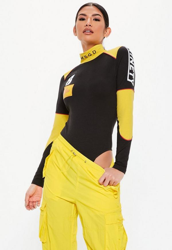 73ae0c58f0 Black Racer Panel Detail Bodysuit