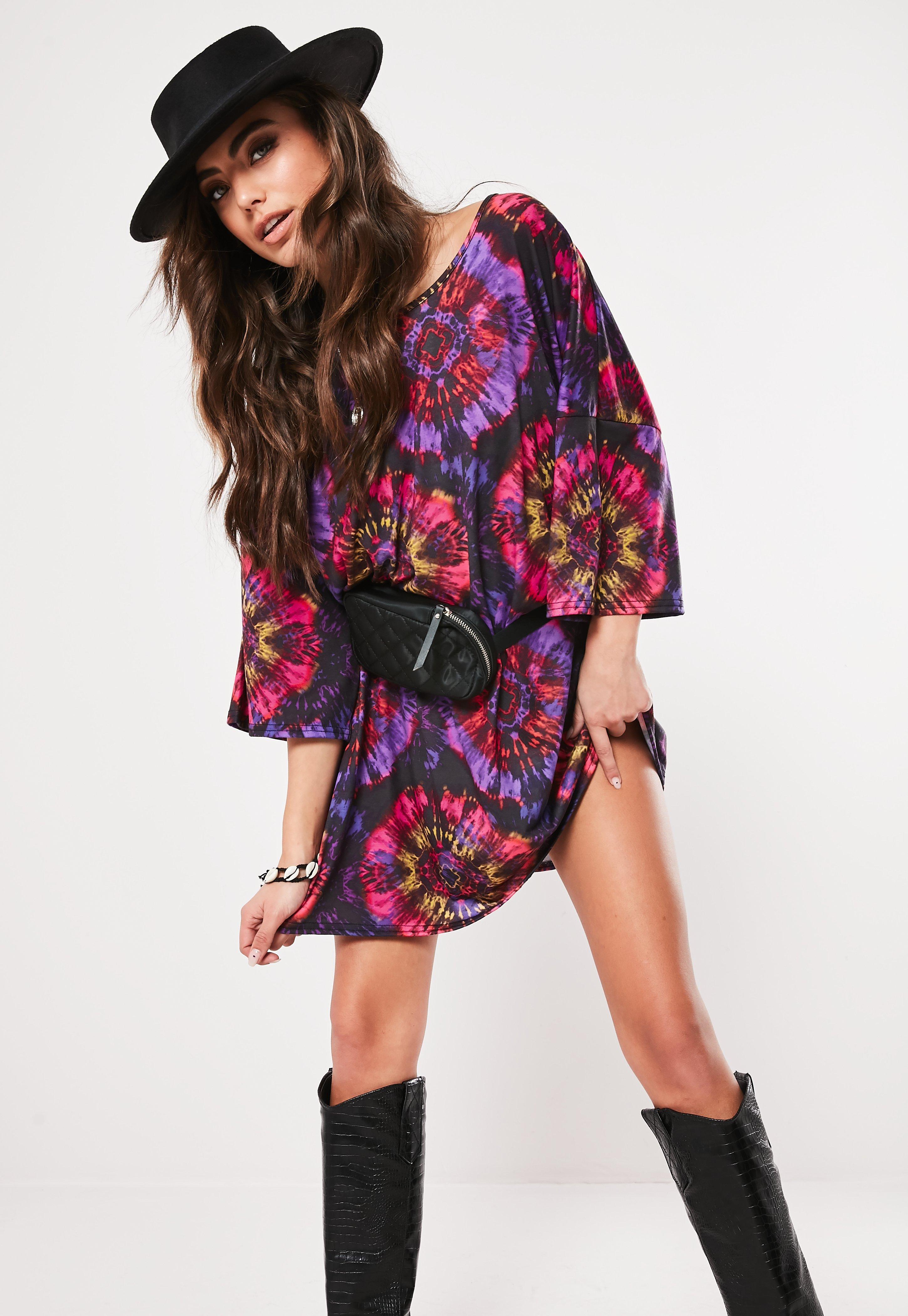 c68631572e42 Purple Tie Dye Oversized T Shirt Dress | Missguided