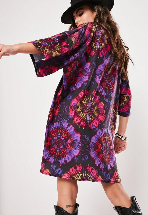 405f7e1e241 Purple Tie Dye Oversized T Shirt Dress. Previous Next