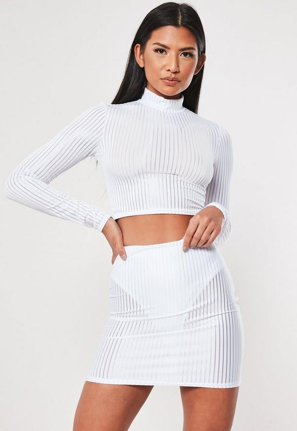 0bc5c3661c9800 White Sheer Panel Ribbed Co Ord Crop Top