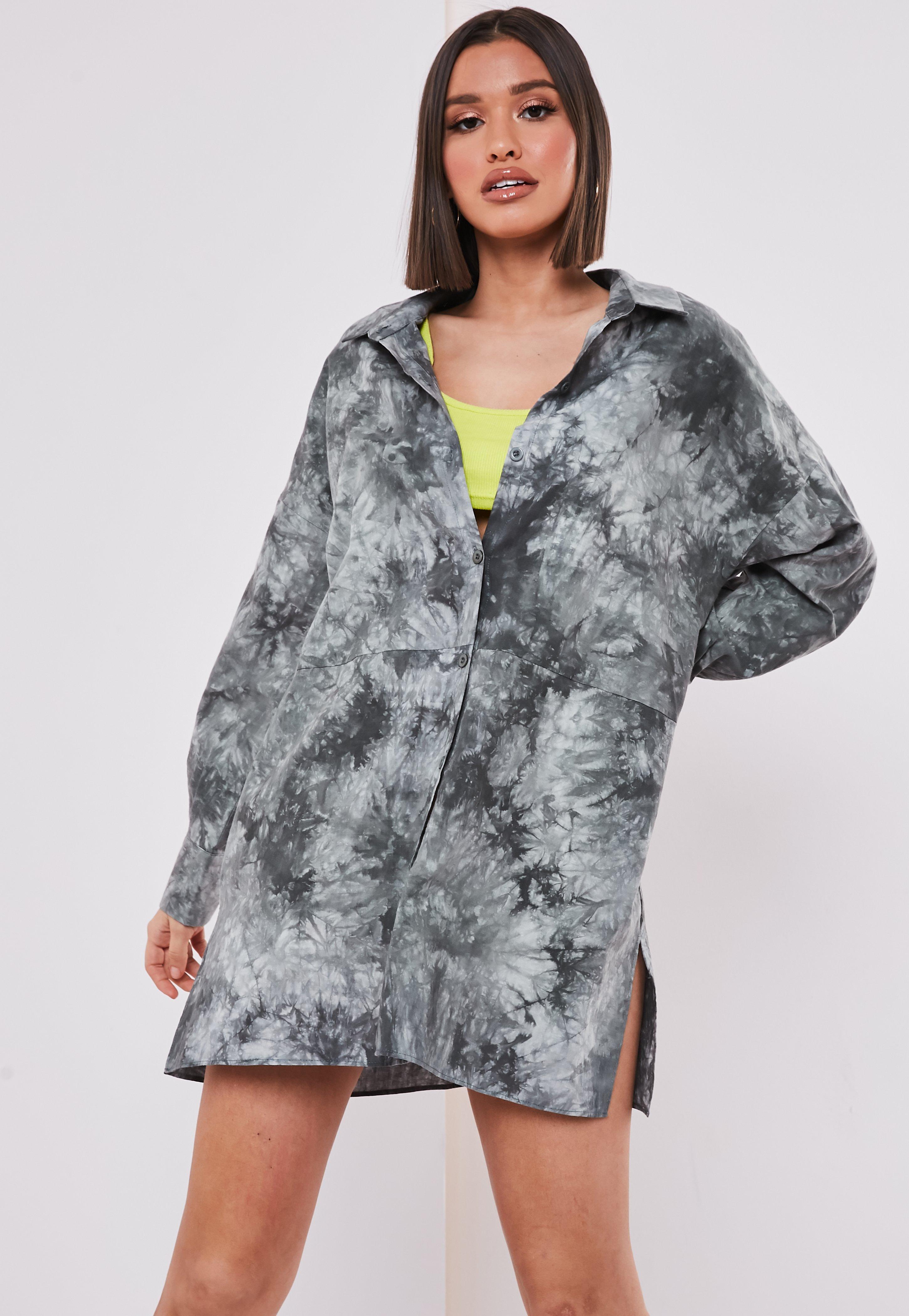 23286fc368e19 Khaki Tie Dye Oversized Shirt Dress | Missguided