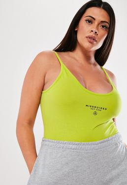 ... Plus Size Lime Strappy Bodysuit c5d33c5a4a3b