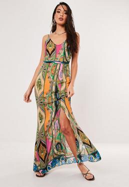 2bda902d3d0 Pink Paisley Print Cowl Maxi Dress
