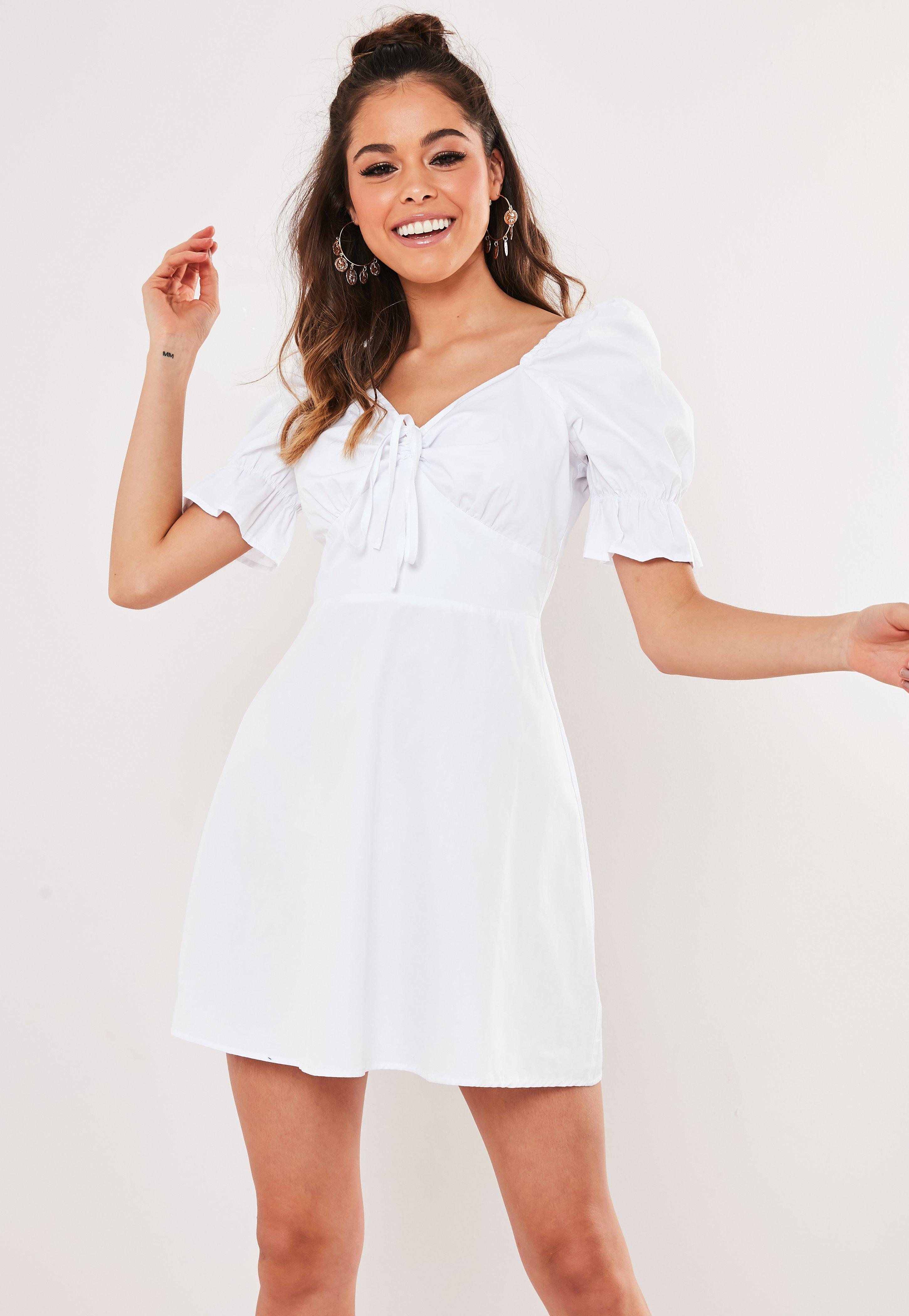 White Puff Sleeve Milkmaid Dress by Missguided