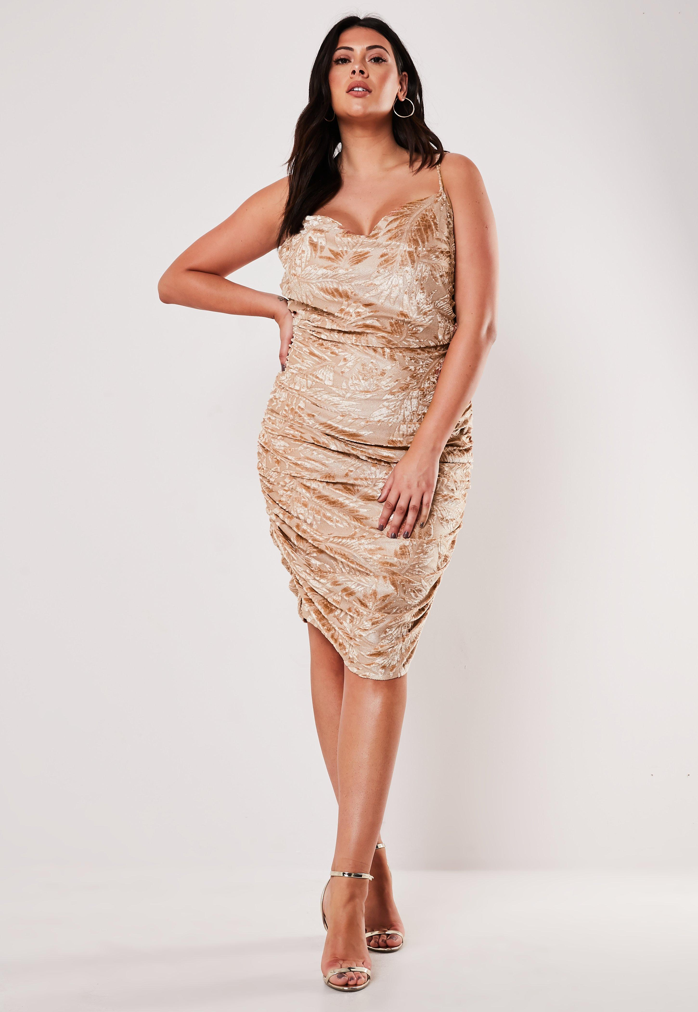 Plus Size Nude Palm Print Devore Ruched Side Slip Dress