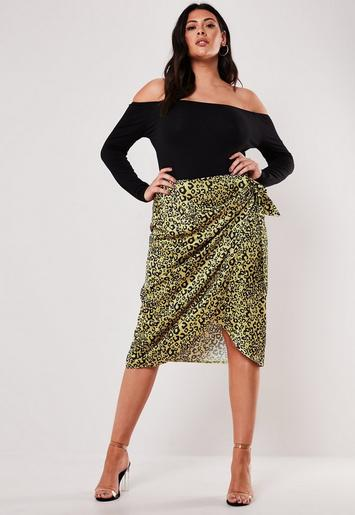 Plus Size Yellow Animal Print Tie Side Midi Skirt by Missguided