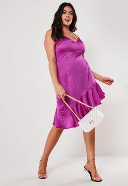 76ed2daa7 Pink Satin Cross Back Midi Dress  Plus Size Purple Asymmetric Frill Hem  Midi Dress