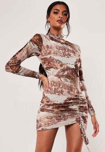 Brown Renaissance Print Mesh High Neck Mini Dress by Missguided