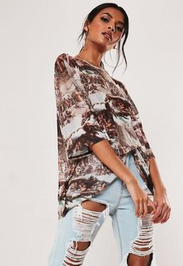 4dfa8c0f88 Blue Organza Puff Sleeve Shirt · Brown Renaissance Print Mesh Oversized T  Shirt