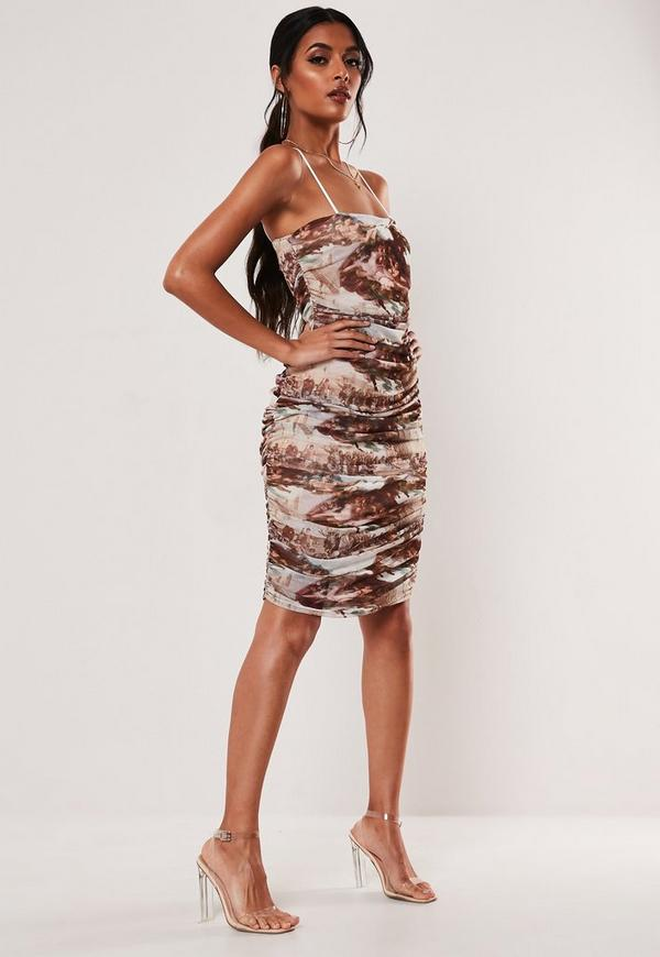 Mesh renaissance dress bodycon multi ruched print richmond and sneakers