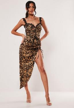 3a62239d5c44 Tall Brown Leopard Print Lace Insert Satin Maxi Dress; Brown Leopard Print  Satin Asymmetric Midi Skirt
