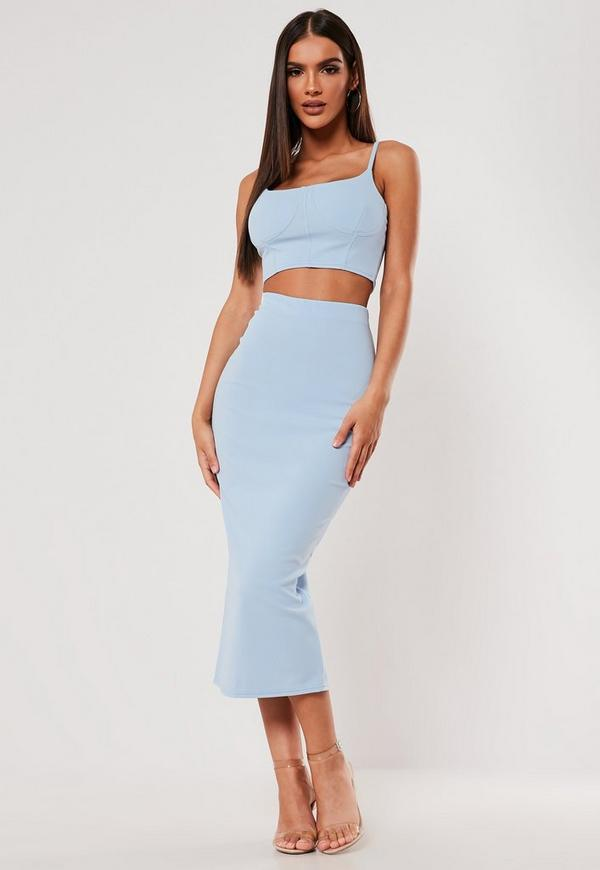 Sxf X Missguided Blue Crepe Midi Skirt by Missguided