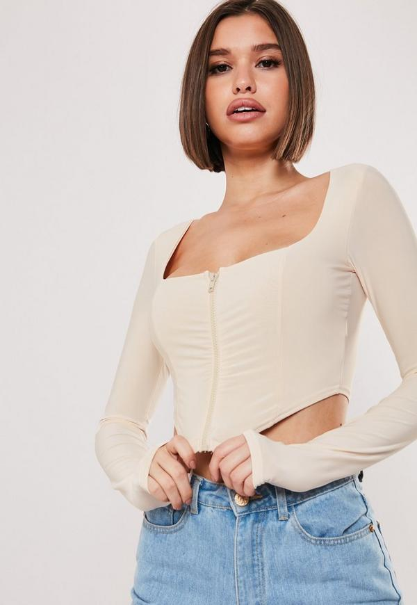 sxf-x-missguided-stone-slinky-zip-up-crop-top by missguided