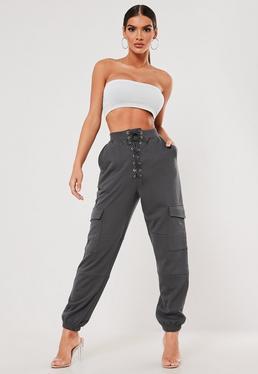 0e2acf669e7242 Petite Brown Check Cargo Pants; SXF x Missguided Gray Lace Up Pocket Joggers