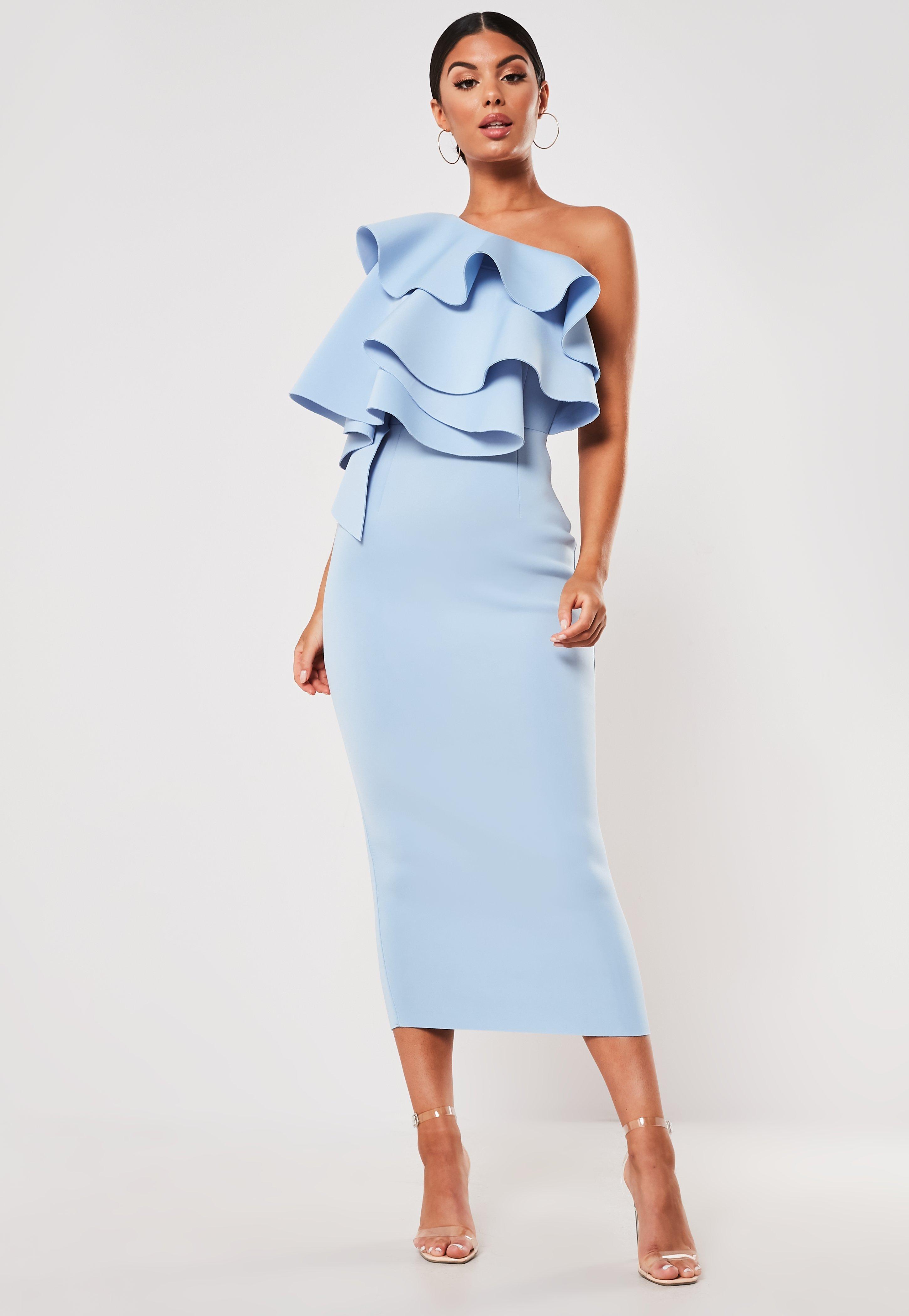 b7647236f07 Blue Ruffle One Shoulder Scuba Midi Dress