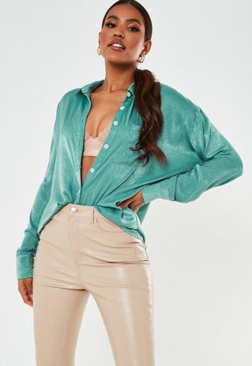 Teal Silky Oversized Shirt by Missguided
