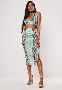 Атласная миди-юбка с принтом мяты