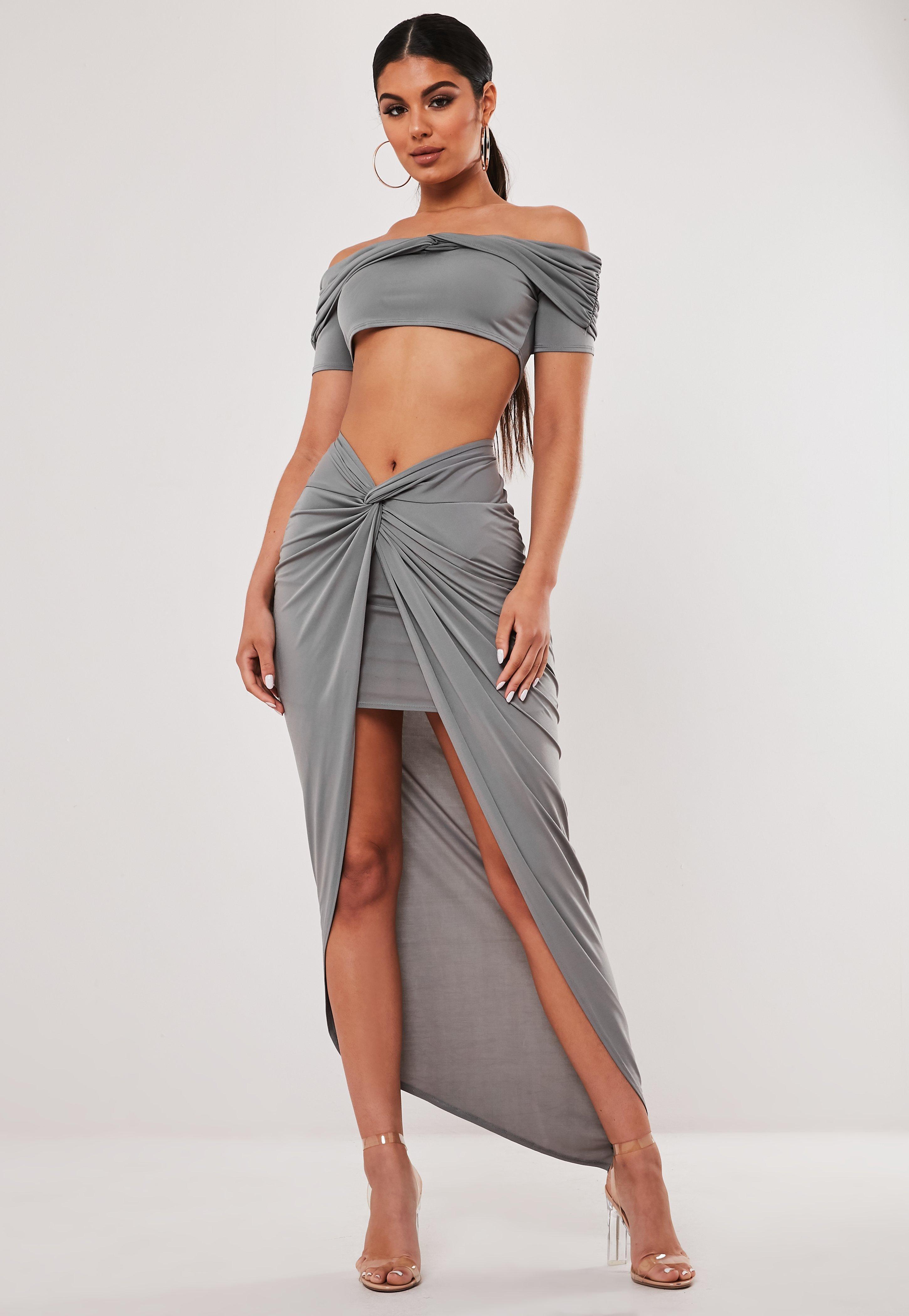 d10ad26a76 Grey Co Ord Asymmetric Wrap Midaxi Skirt