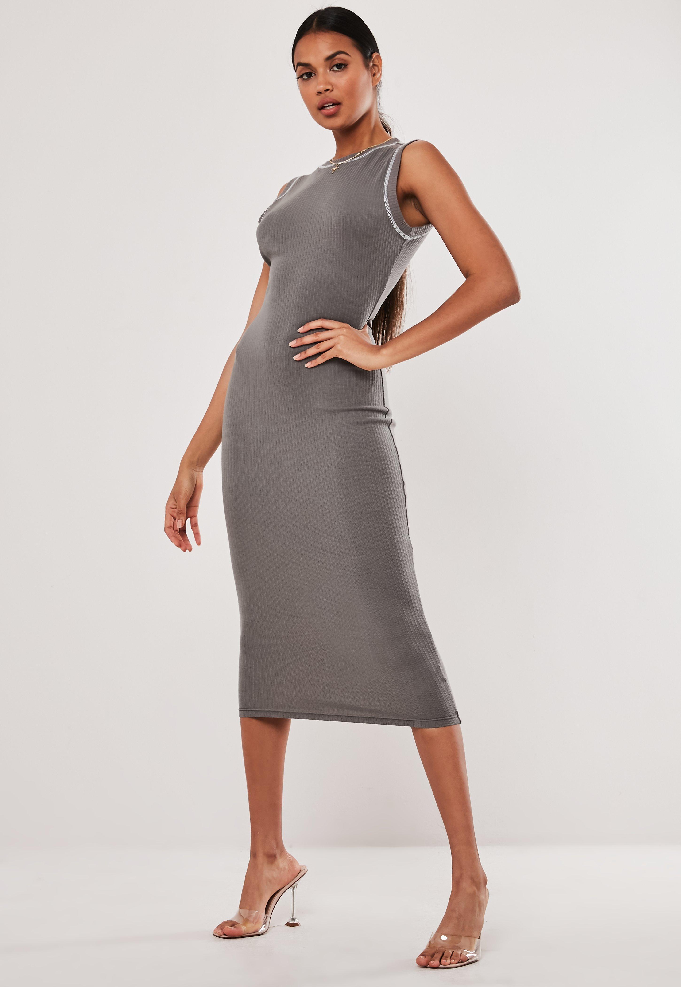 e6f441e4 Grey Rib Sleeveless Bodycon Midaxi Dress