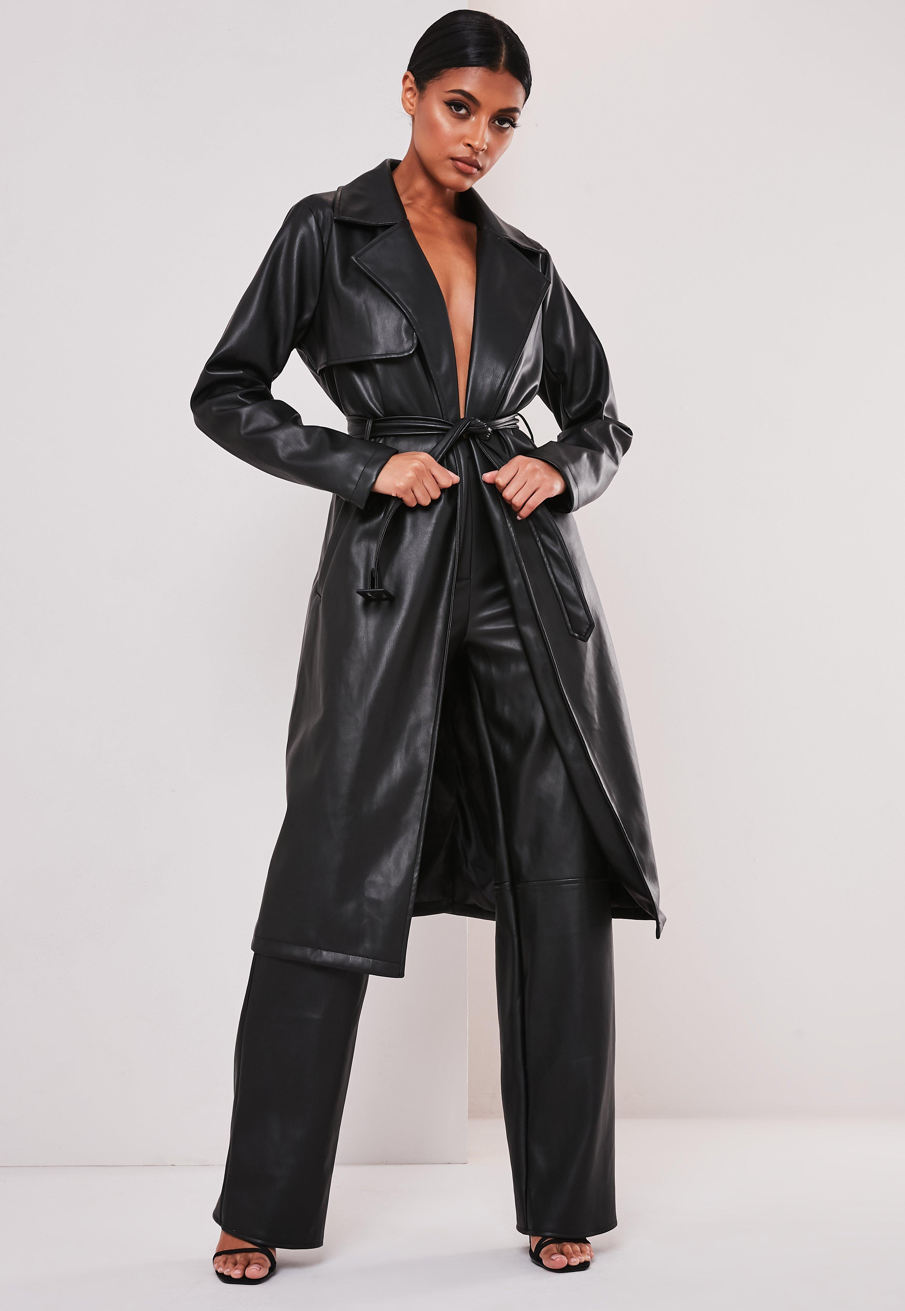 réputation fiable pas cher magasin britannique Sofia Richie x Missguided Manteau trench noir en simili cuir