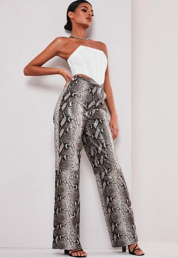 dependable performance genuine shoes wide selection of colours and designs Missguided - Sofia Richie x Missguided Brown Snake Print Faux Leather Pants