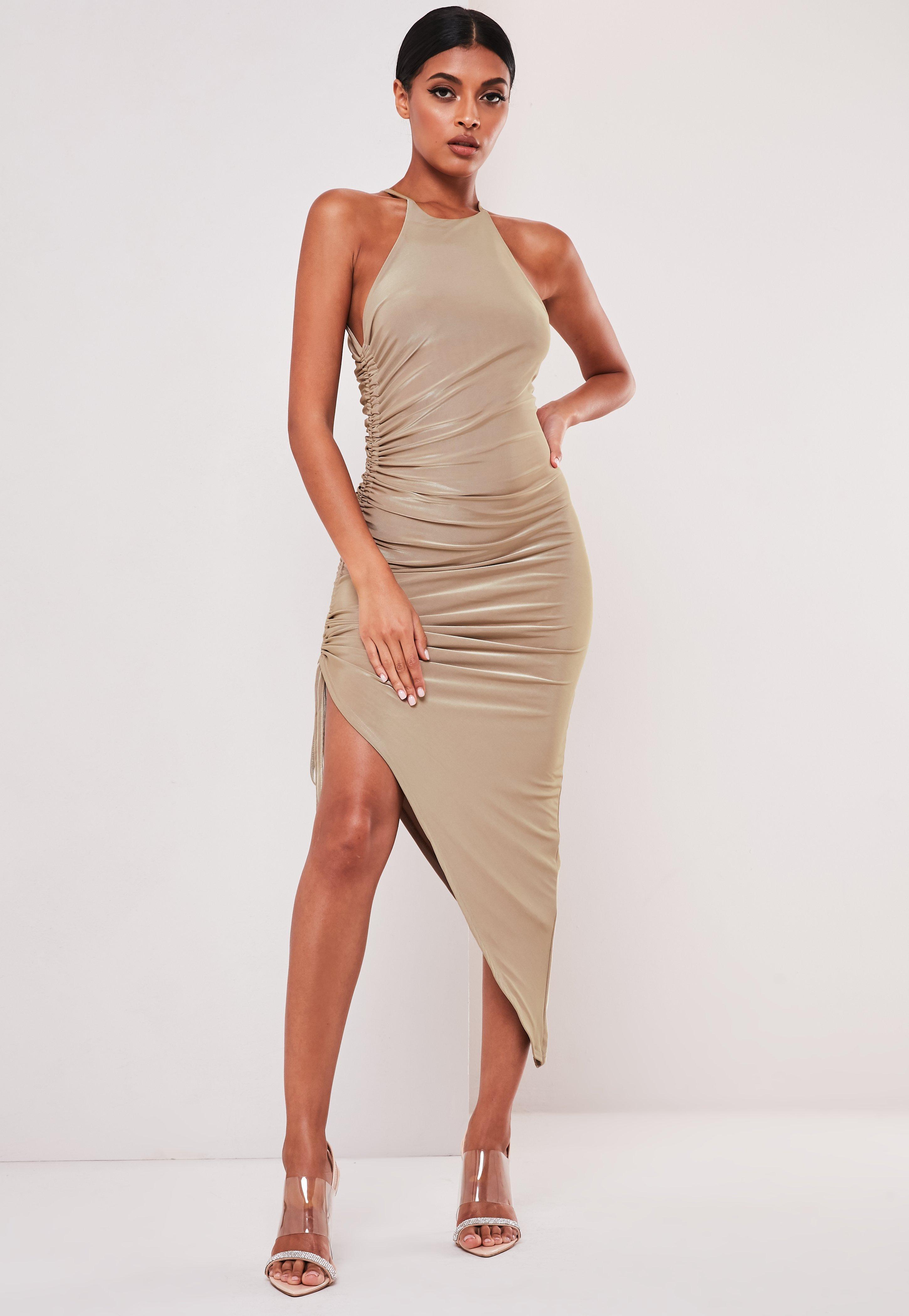 New York meilleur fournisseur professionnel de la vente à chaud Sofia Richie x Missguided Robe mi-longue taupe asymétrique