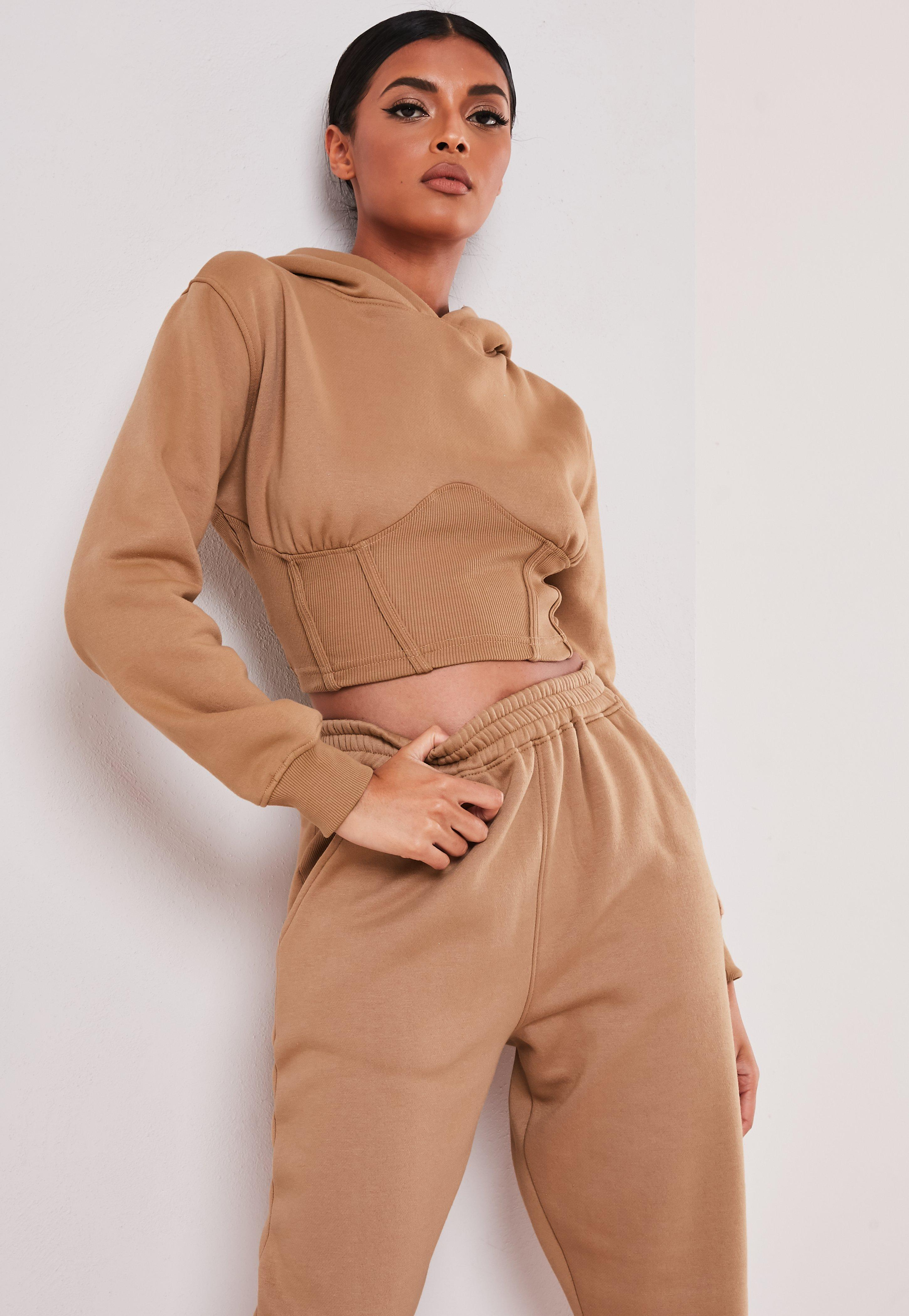 Sofia Richie x Missguided Sweat à capuche taupe style corset