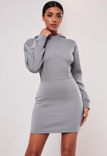 the best attitude 750d0 3826b Missguided - Sofia Richie x Missguided Pulloverkleid mit Kapuze und  Korsett-Detail in Grau