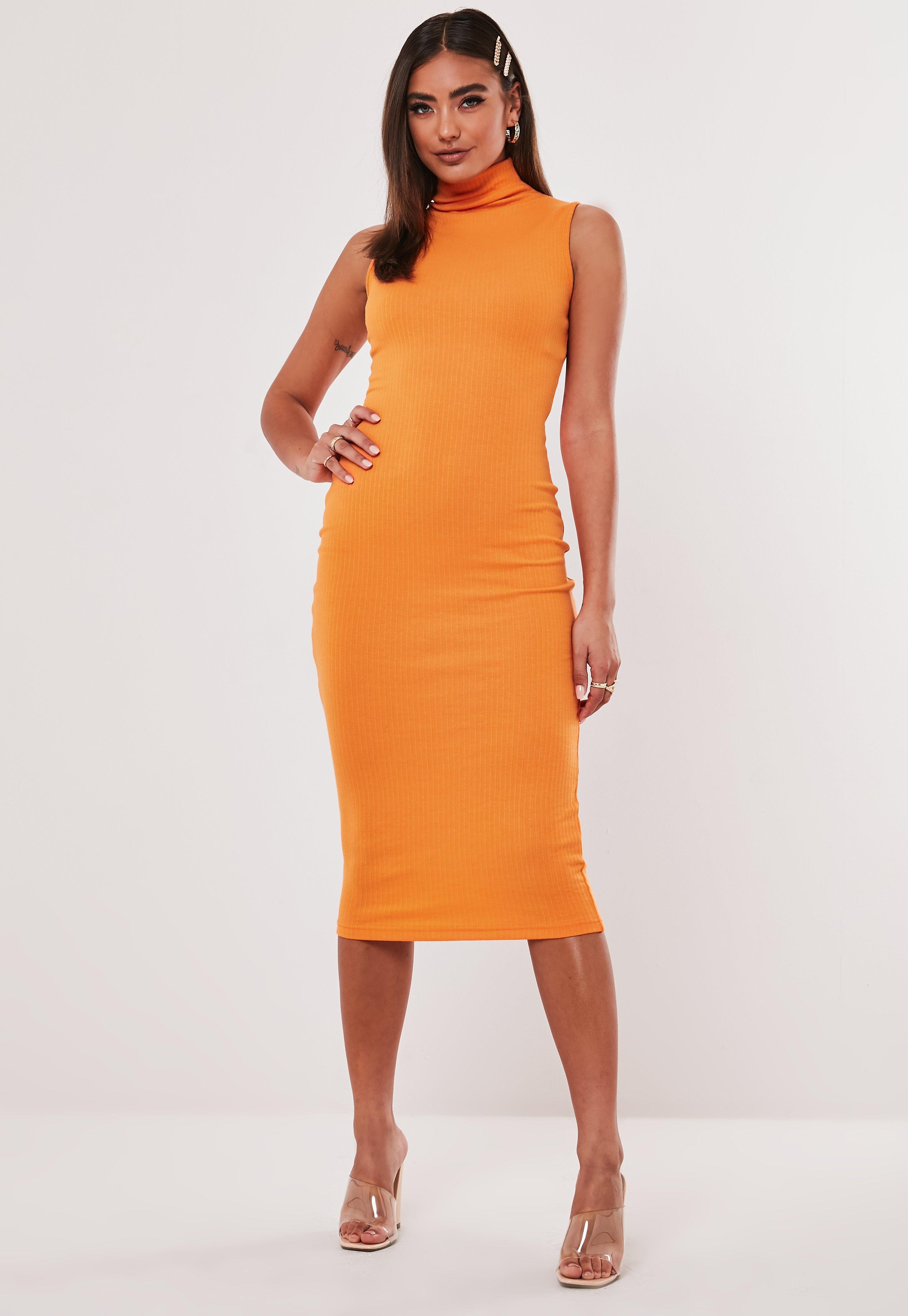 vente en ligne profiter du prix le plus bas bien Robe longue orange col roulé Jordan Lipscombe x Missguided