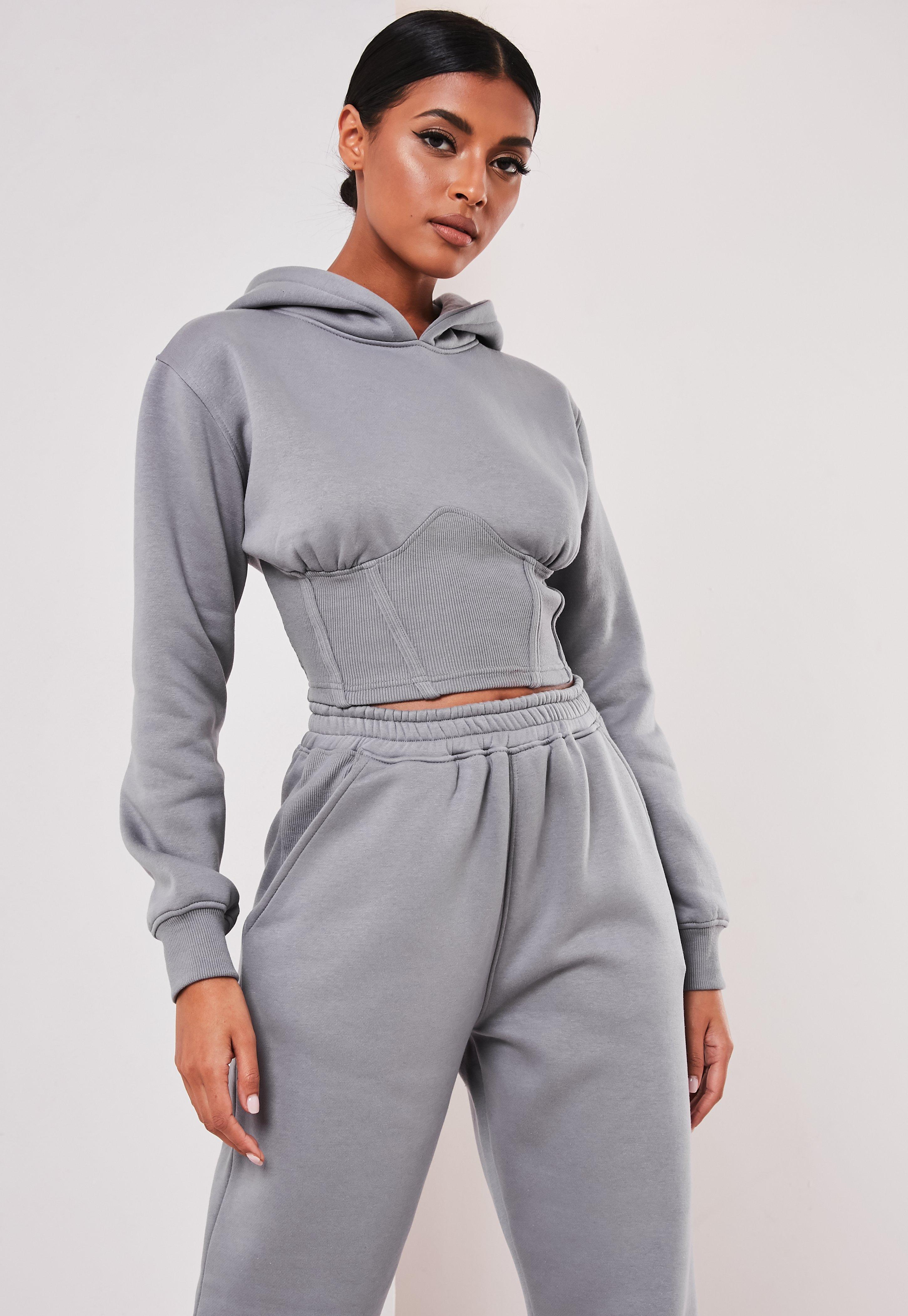 Sofia Richie x Missguided Sweat à capuche gris style corset