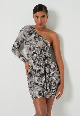 Gray Marble Print One Shoulder Mini Dress