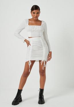 White Co Ord Cotton Poplin Ruched Mini Skirt