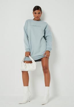 Blue Fleece New Season Slogan Oversized Dress