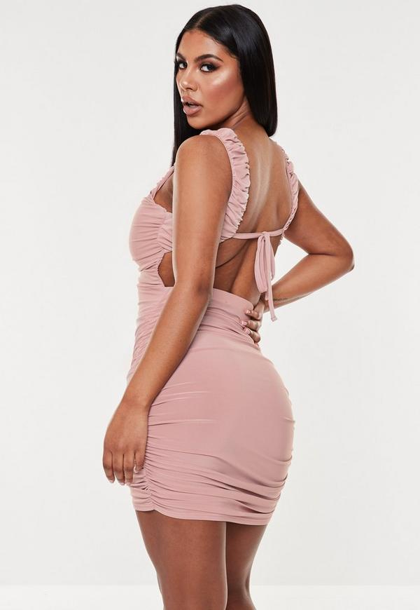 Blush strappy slinky wrap bodycon mini dress