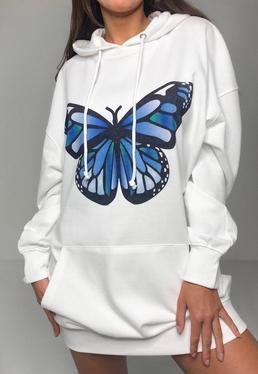Vestido sudadera oversize con mariposa en blanco