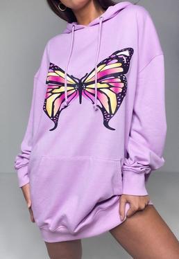 Vestido sudadera oversize con mariposa en lila