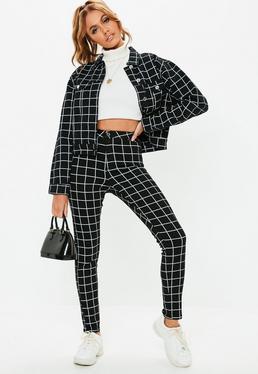 faf10b655fa38 Grid Print · Cropped Denim Jackets