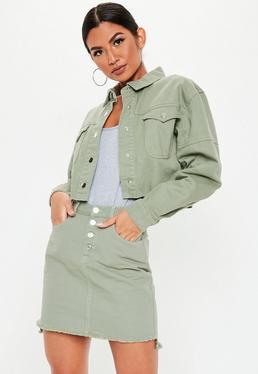 ... Jupe en jean courte vert argile détails boutons 566d84b36ef5