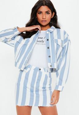 7c1dfadb5c5 Blue Light Wash Neon Contrast Stitch Cropped Denim Jacket · Blue Stripe  Rigid Co Ord Denim Mini Skirt