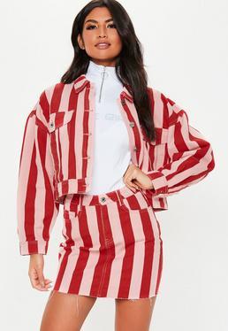 84cdbc77bb9 ... Pink Stripe Rigid Co Ord Denim Mini Skirt