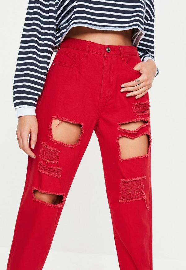 Red Riot Super Distressed Ripped Denim Mom Jeans by Missguided