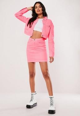 9f003246f7 Neon Pink Co Ord Cropped Denim Jacket