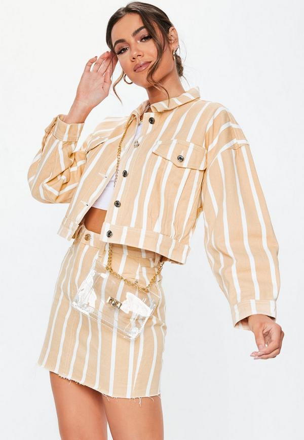 Blush Stripe Cropped Oversized Co Ord Denim Jacket by Missguided