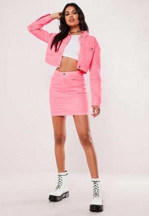 f8160e2d4f Tall Coral Denim Superstretch Mini Skirt | Missguided