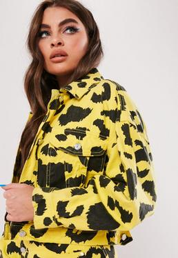 fcdc0251ee0 ... Yellow Leopard Print Cropped Denim Jacket