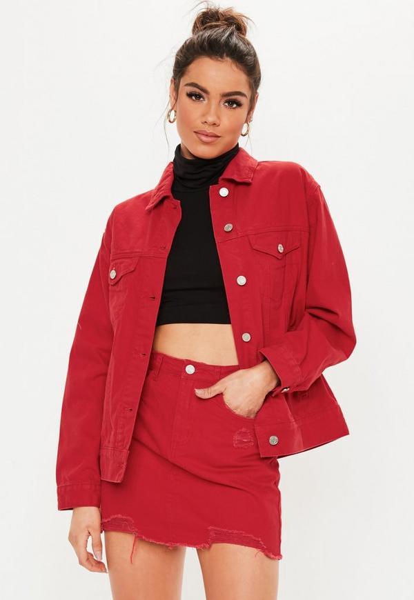 802291edcc Red Denim Super Stretch Mini Skirt | Missguided Australia