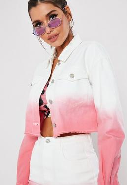 593ba68542f19d White Ombre Raw Hem Denim Co Ord Jacket